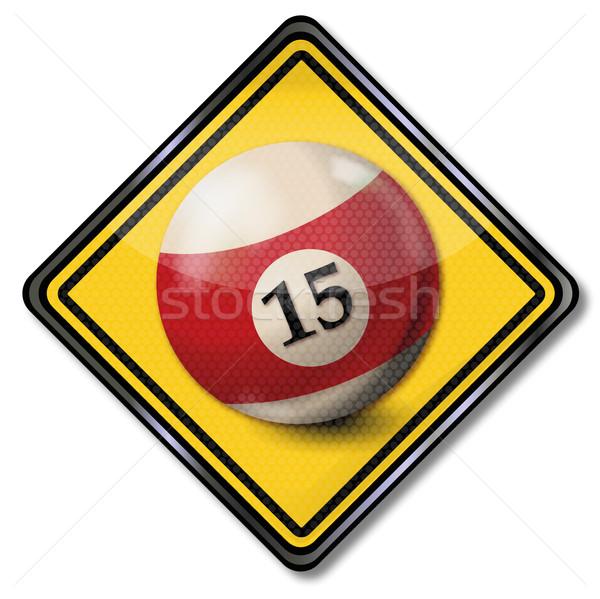 Teken biljart bal aantal 15 Rood Stockfoto © Ustofre9