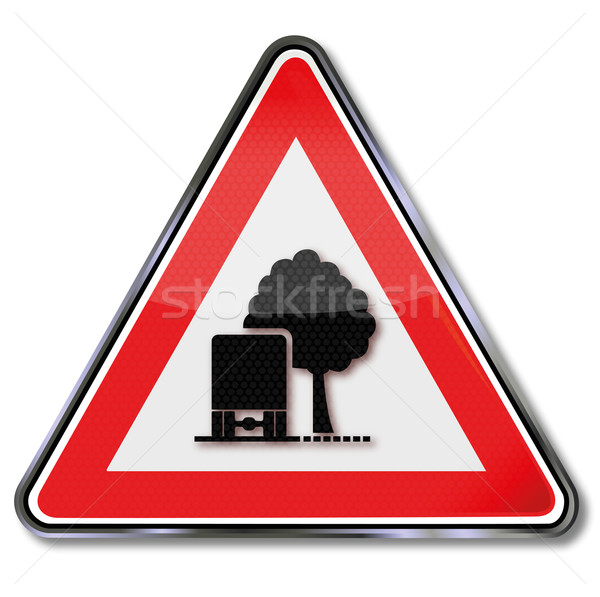 Signo tráfico alerta árboles árbol obstáculo calle Foto stock © Ustofre9