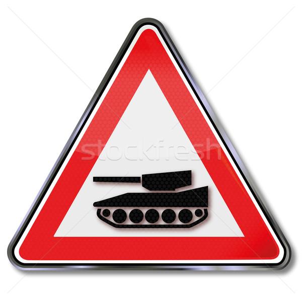 Panneau de signalisation réservoir véhicule route guerre bleu Photo stock © Ustofre9