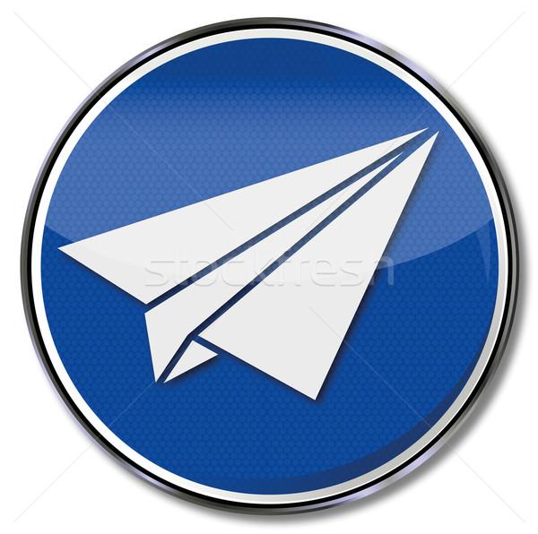 Podpisania papierowy samolot pomysły działalności papieru Motyl Zdjęcia stock © Ustofre9