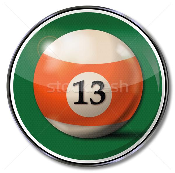 Segno arancione biliardo palla numero 13 Foto d'archivio © Ustofre9