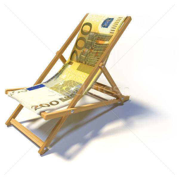 Espreguiçadeira euro negócio dinheiro relaxar banco Foto stock © Ustofre9