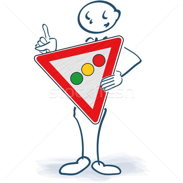 Stick figure светофора знак тело бизнеса служба Сток-фото © Ustofre9