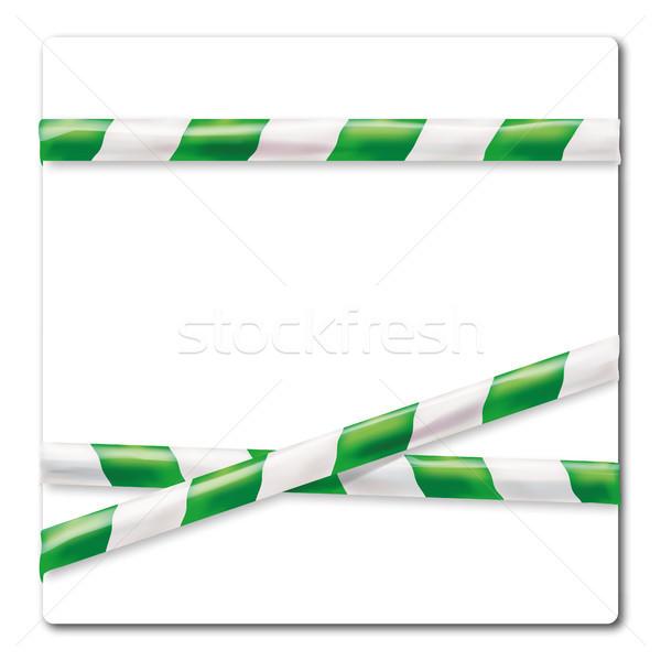 Barrier tape green white Stock photo © Ustofre9