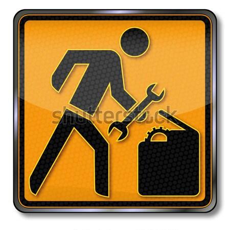 ストックフォト: 危険標識 · 注意 · 下がり · 貨物 · トラック · トラック