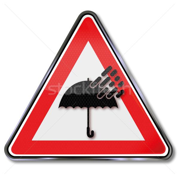 Teken paraplu slechte weer water regen scherm Stockfoto © Ustofre9