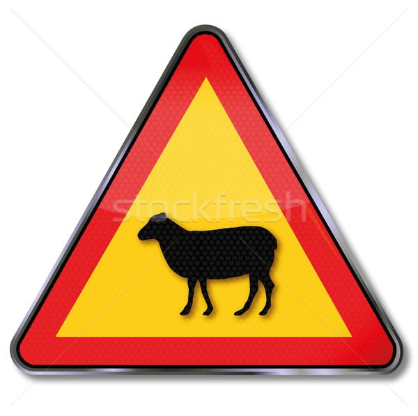 Sinaleiro ovelha estrada rua assinar fazenda Foto stock © Ustofre9