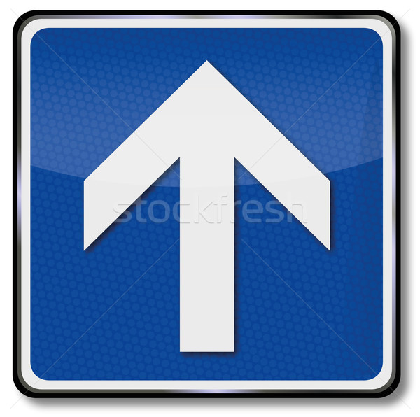 Traffic sign with arrow and direction indication to the front Stock photo © Ustofre9