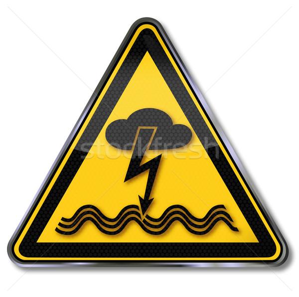 Sinal de perigo aviso elétrico choque relâmpago aquático Foto stock © Ustofre9