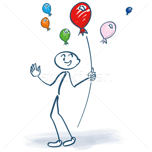 Stick figure holding balloons in the air Stock photo © Ustofre9