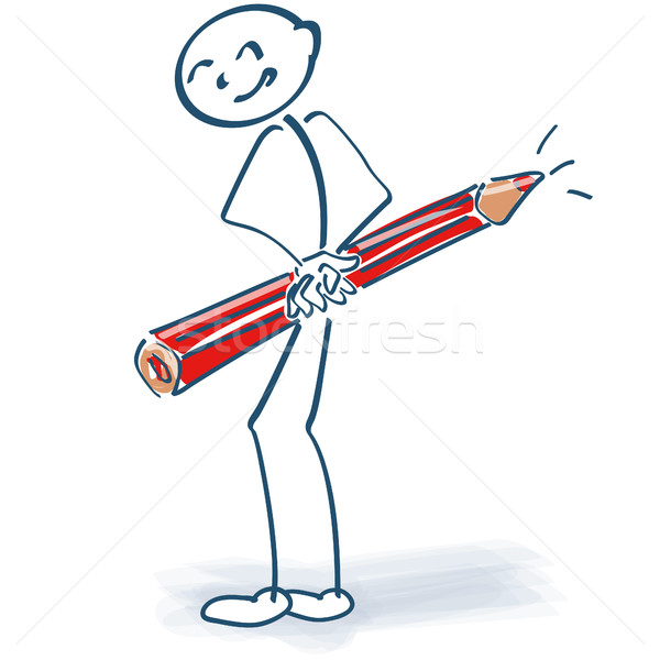 Stick figure with red pencil behind the back Stock photo © Ustofre9