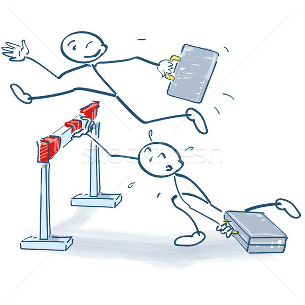 Stick figure jumps better over a hurdle than others Stock photo © Ustofre9