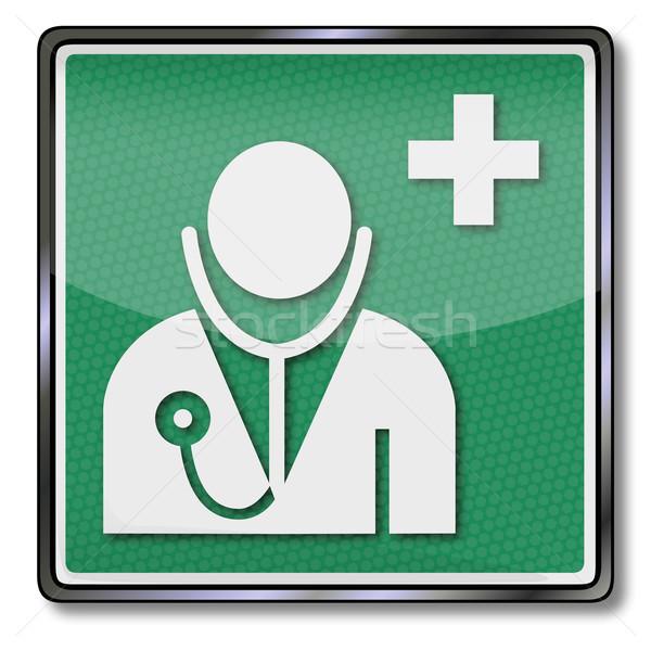 Awaryjne podpisania lekarza lekarz zdrowia zielone Zdjęcia stock © Ustofre9