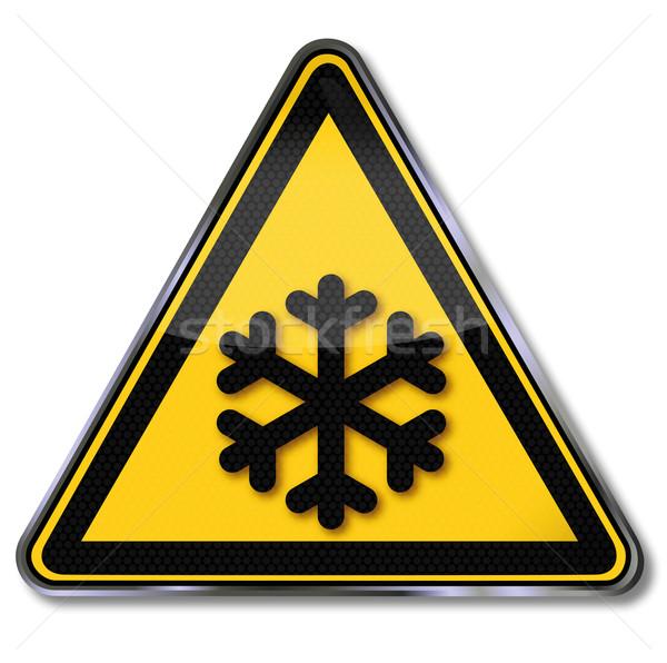 знак опасности предупреждение холодно снега температура падение Сток-фото © Ustofre9