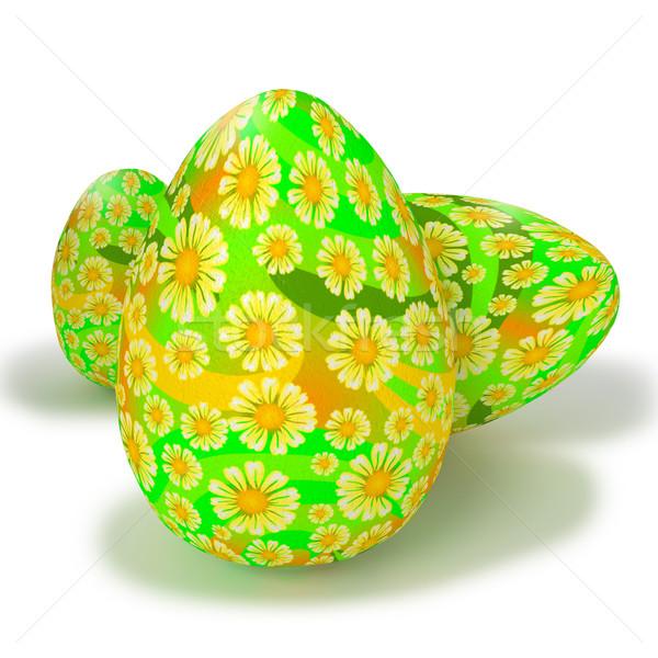 Geschilderd eieren bloemen voorjaar kinderen ei Stockfoto © Ustofre9