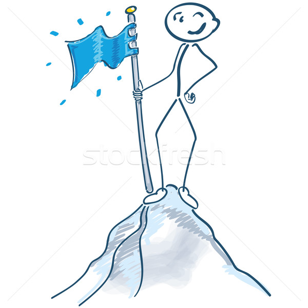 Stick figure with flag on a mountain top Stock photo © Ustofre9