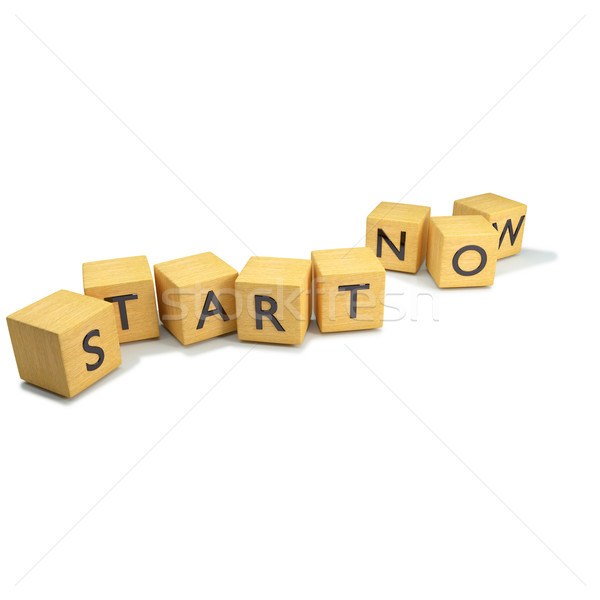 Dice with start now Stock photo © Ustofre9