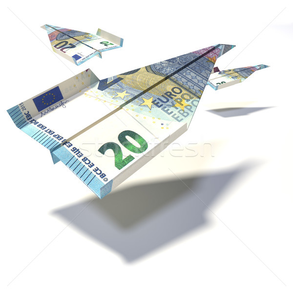 Paper airplane made of a 20 euro bill Stock photo © Ustofre9