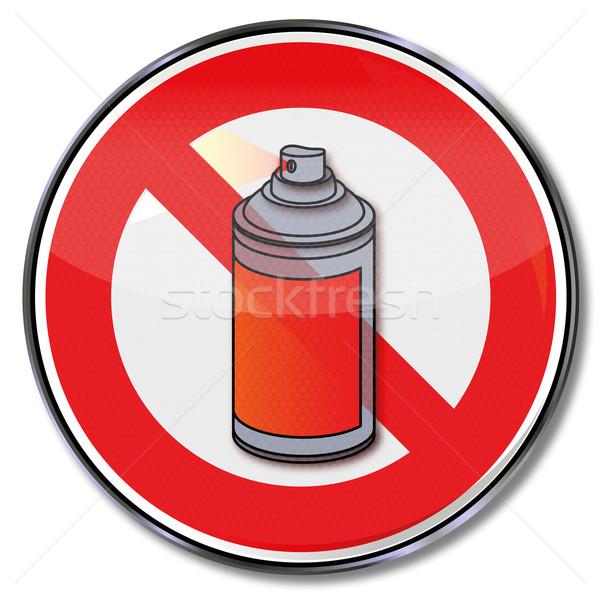 Divieto segno no spray graffiti fuoco Foto d'archivio © Ustofre9