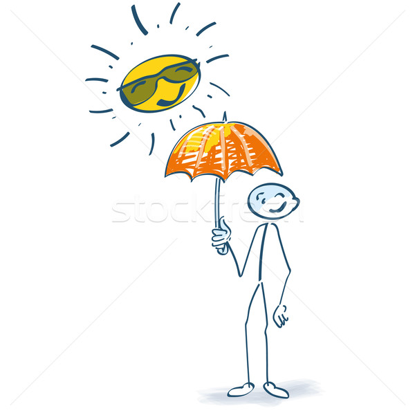 Stick figure with parasol in the sun  Stock photo © Ustofre9