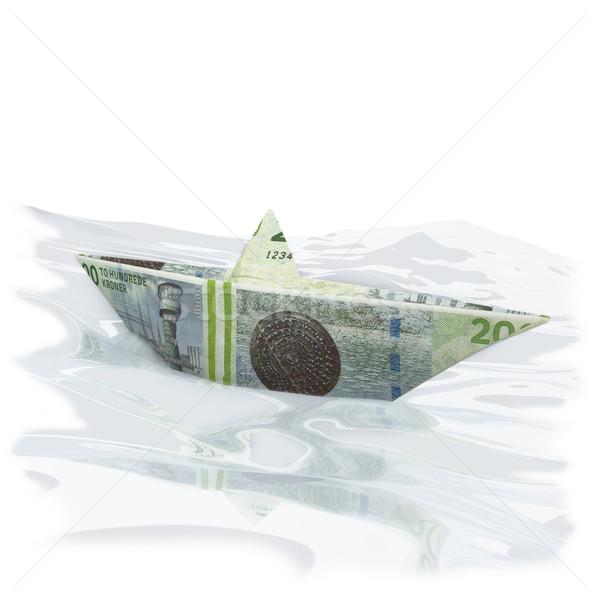 Little paper boat with 200 Danish kroner Stock photo © Ustofre9