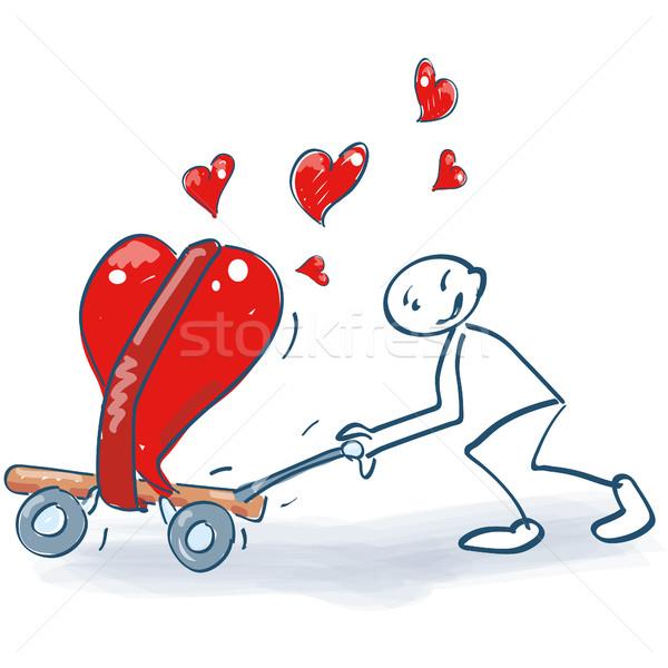 Pálcikaember szállítás kosár tele szívek szeretet Stock fotó © Ustofre9