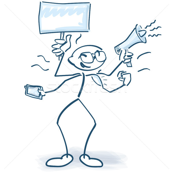 Stick figures with multiple hands, multitasking, and all at the same time Stock photo © Ustofre9