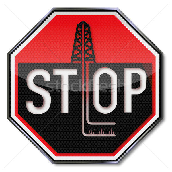 Stop sign no fraccing Stock photo © Ustofre9