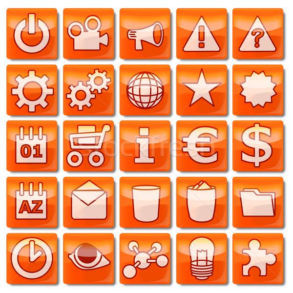 Narancs webes ikonok üzlet szem internet óra Stock fotó © Ustofre9