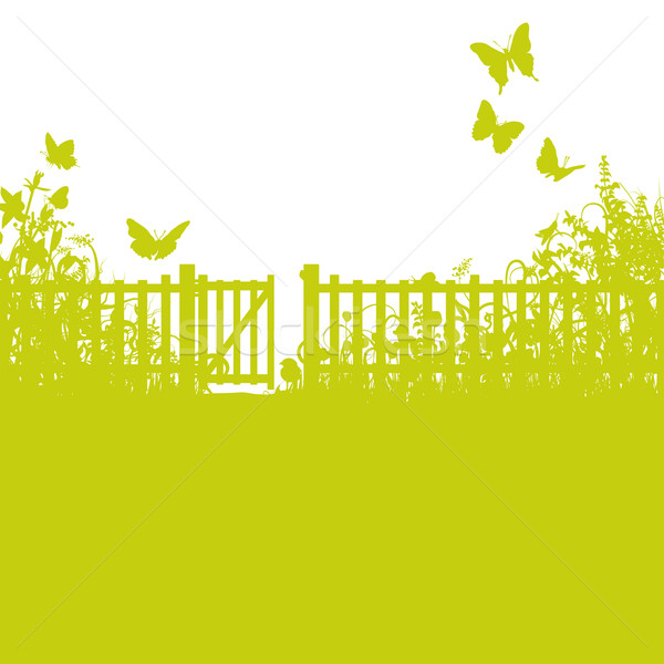 Garden fence, gate and lawn Stock photo © Ustofre9
