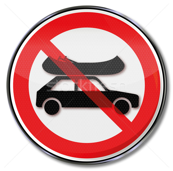 Prohibition sign ban on boats on the car roof Stock photo © Ustofre9