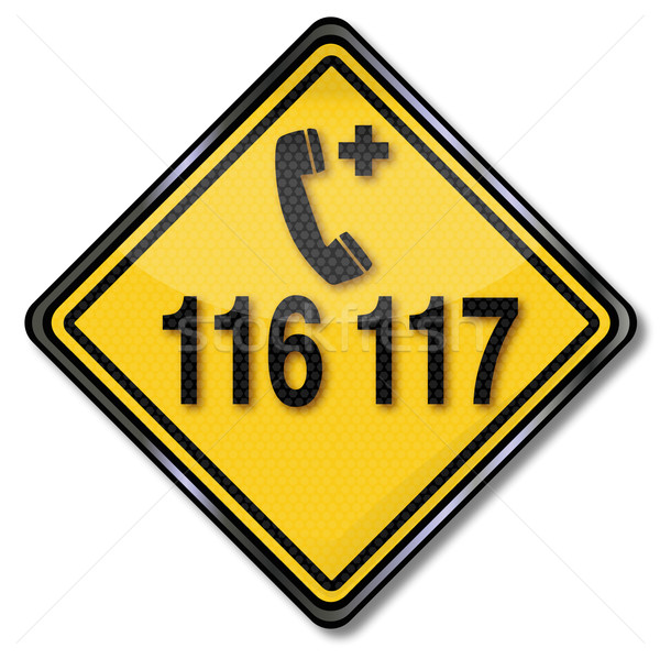 Exit sign with emergency call 116 117 for medical assistance Stock photo © Ustofre9