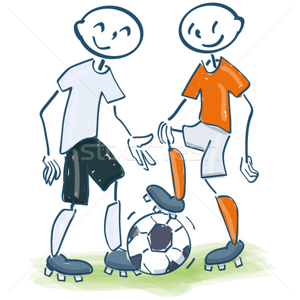 Stick figure as football player in white and orange Stock photo © Ustofre9