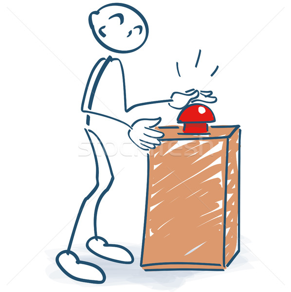 Stick figure with a red button and start Stock photo © Ustofre9