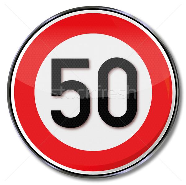 Assinar limite de velocidade 50 rua tráfego sinais Foto stock © Ustofre9