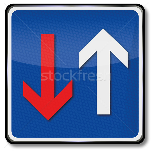 Traffic sign priority with oncoming traffic and arrows Stock photo © Ustofre9