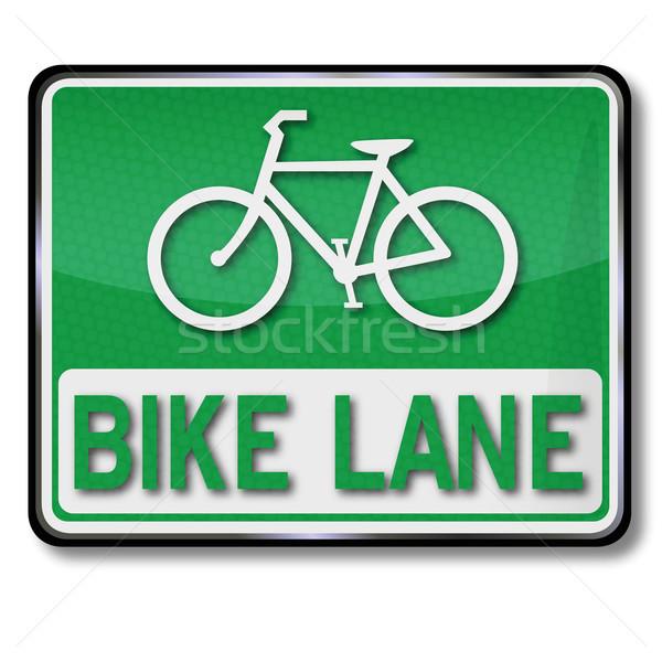 Vert panneau de signalisation vélo vélo noir Photo stock © Ustofre9