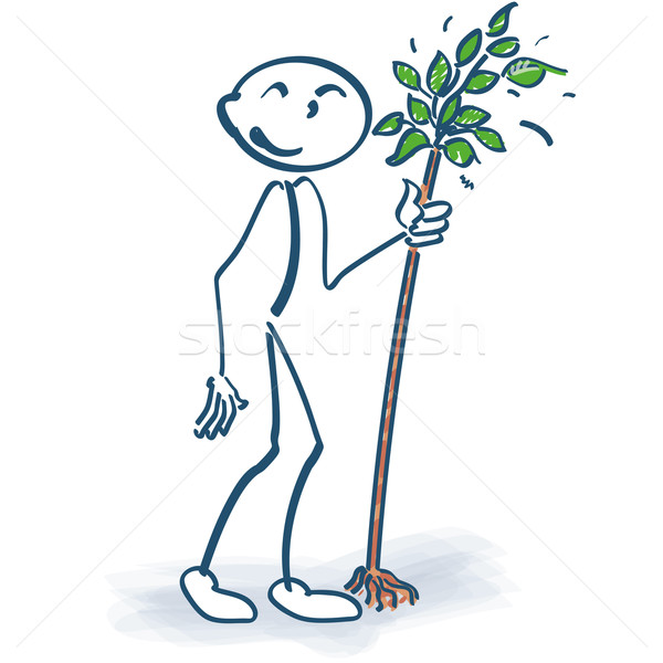 Stick figure with a little tree Stock photo © Ustofre9