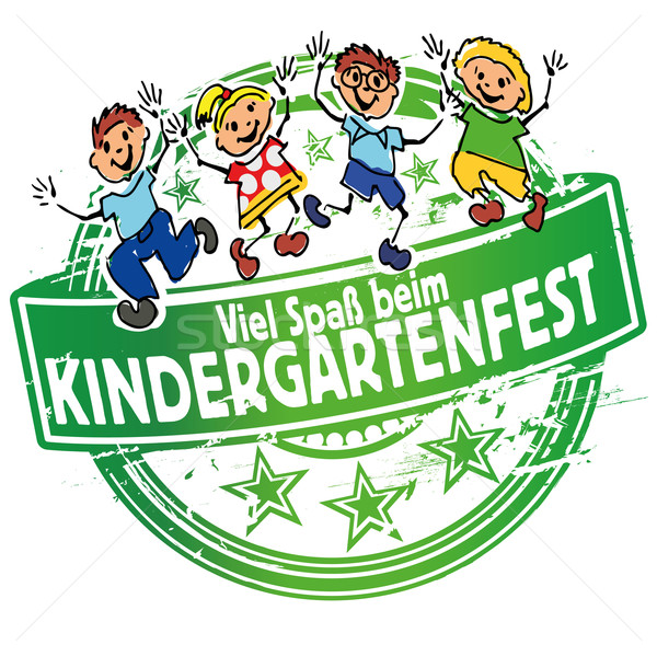 Rubber stamp with kindergarten festival inviting Stock photo © Ustofre9