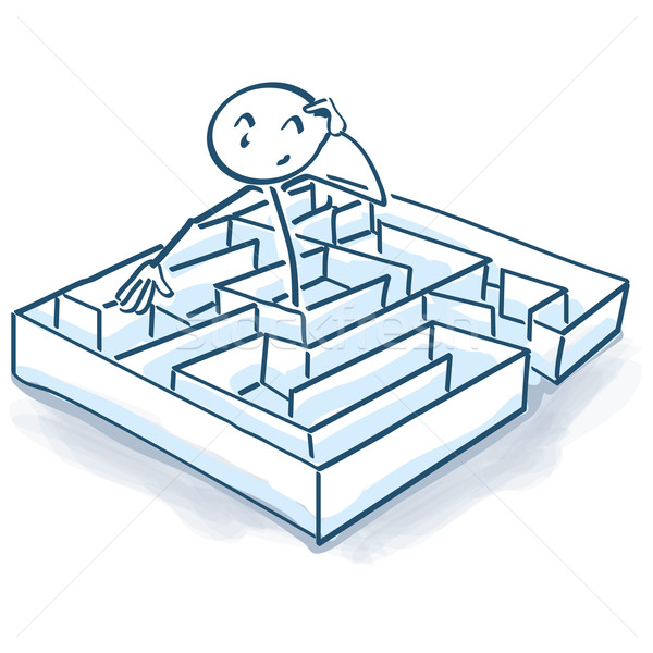Stick figure in maze and labyrinth Stock photo © Ustofre9