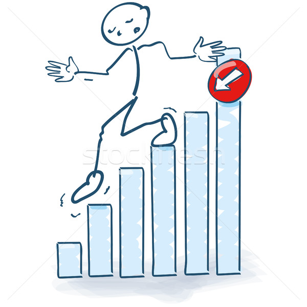 Stock photo: Stick figure going the bar graph downstairs