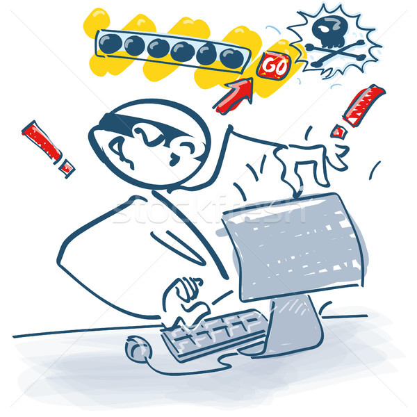 Pálcikaember számítógép doboz posta biztonság weboldal Stock fotó © Ustofre9