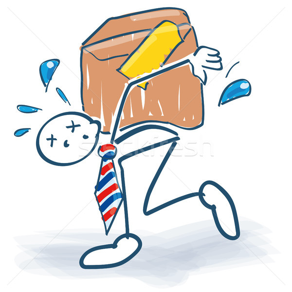 Stick figure as manager tows a too heavy package Stock photo © Ustofre9