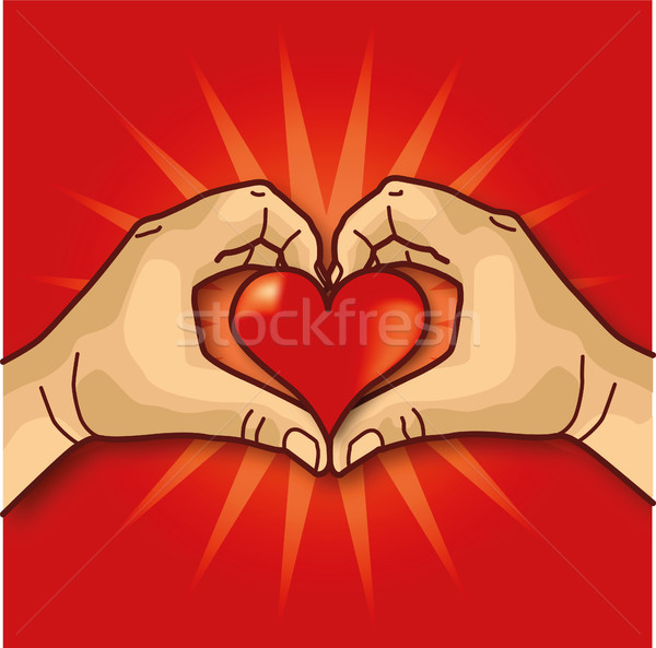 Stock photo: Hands with a heart