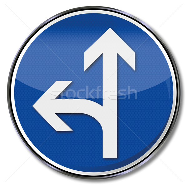 Traffic sign with directional information to the left and straight ahead, Stock photo © Ustofre9