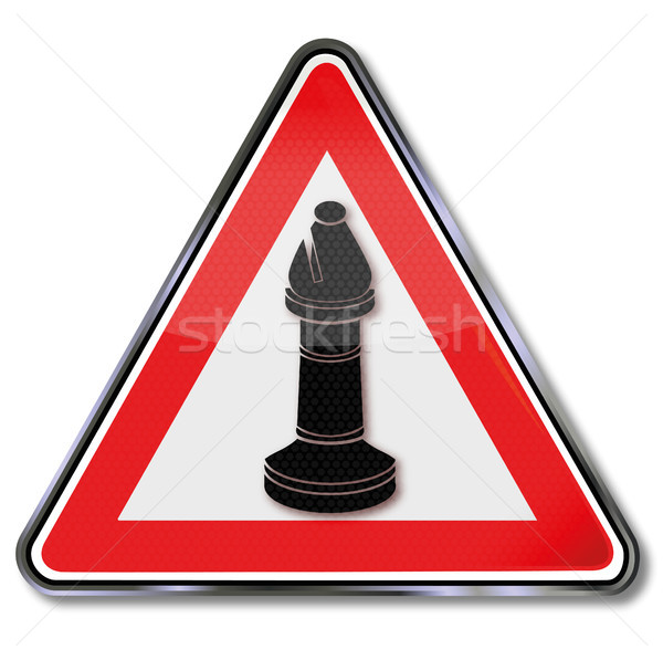 Stock photo: Sign with chess bishop