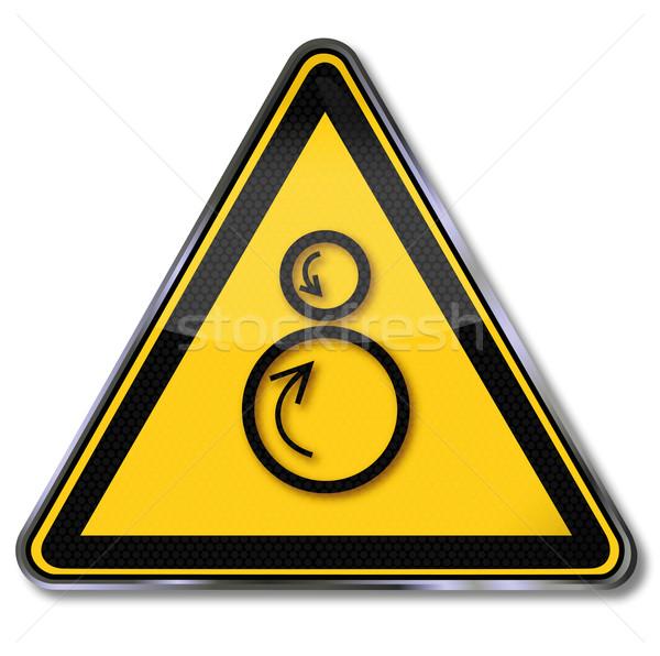 Figyelmeztető jel kockázat fém törvény feliratok gép Stock fotó © Ustofre9