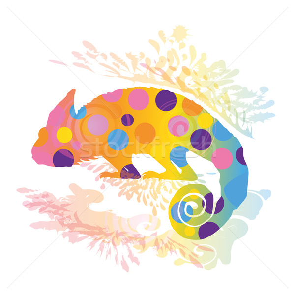 Shadow blob with chameleon Stock photo © Ustofre9