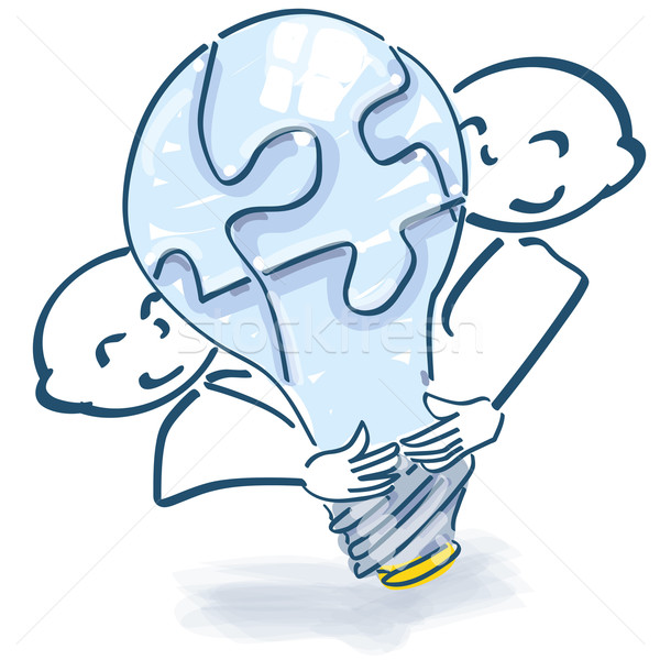 Stick figures with light bulb as a puzzle and team spirit Stock photo © Ustofre9