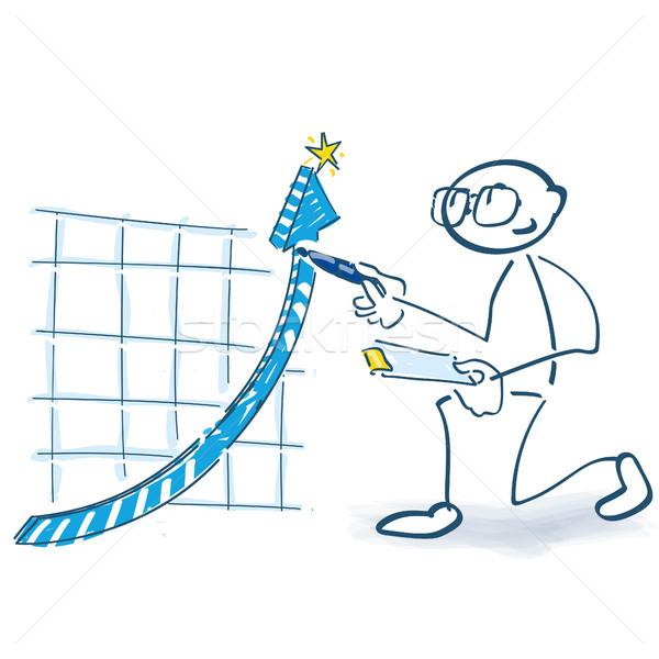 Stick figure krzywa w górę działalności pióro szkolenia Zdjęcia stock © Ustofre9